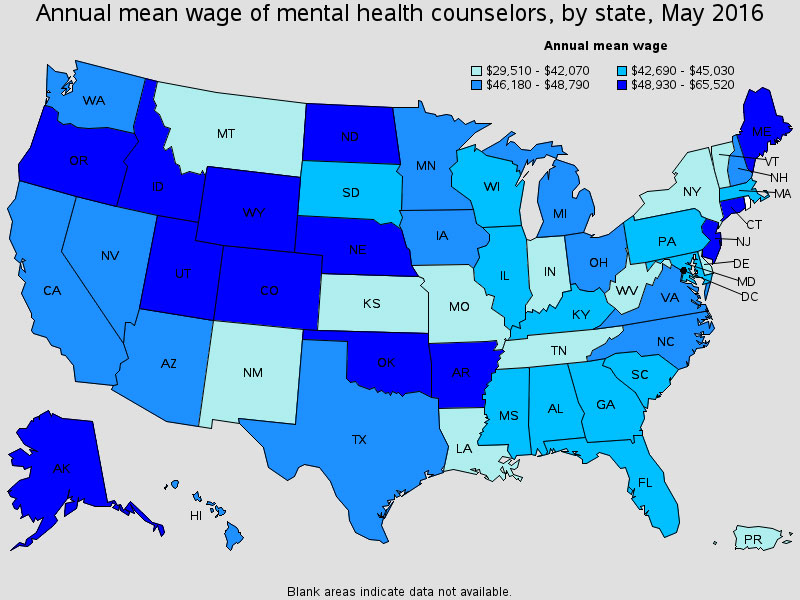 Map from the Bureau of Labor Statistics detailing the annual mean wage of mental health counselors and therapists by state