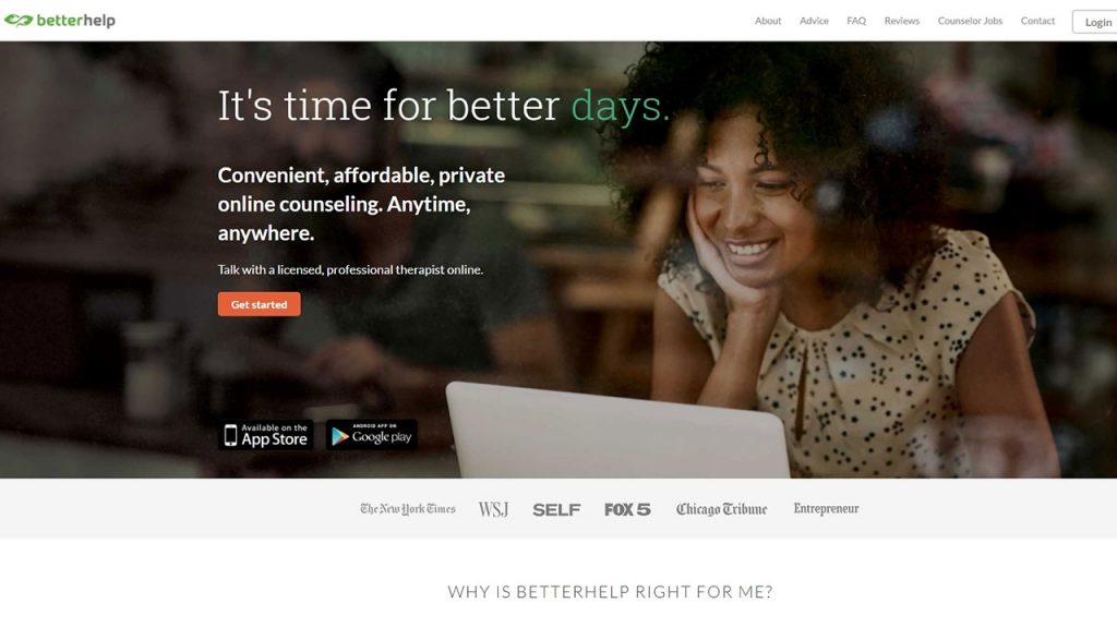 The BetterHelp therapist directory website shows an image of a woman in a cafe smiling at her laptop while resting her chin on her right hand.