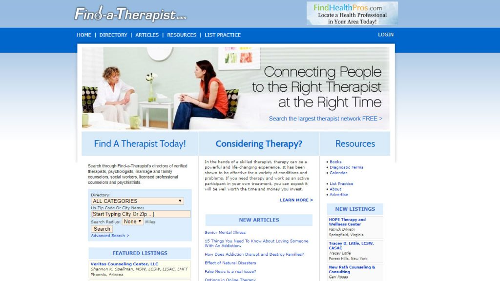 Find-a-therapist website where therapists can add themselves to the site's directories.