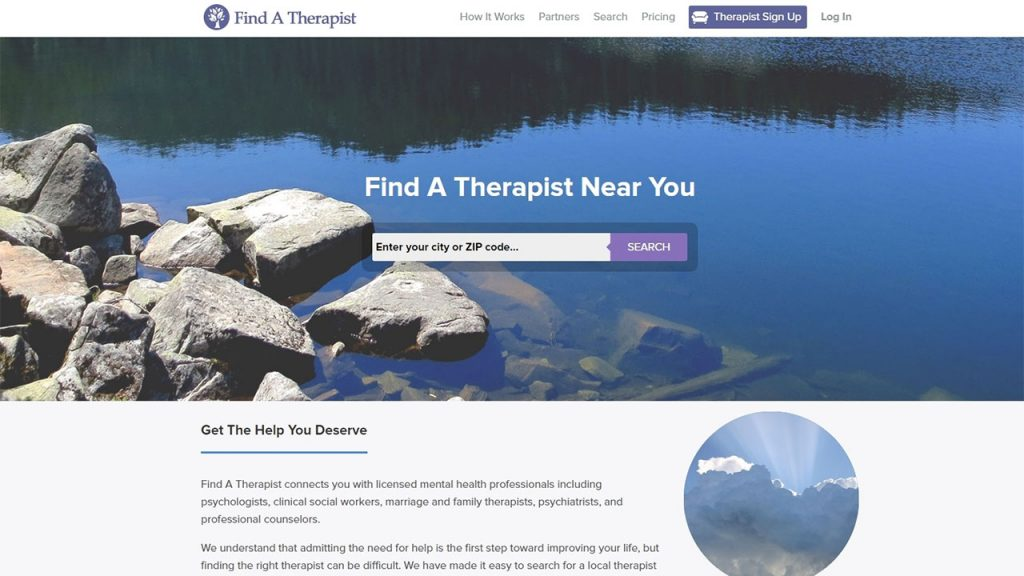 Find a Therapist enables users to type in their city or zip code to find local practitioners.