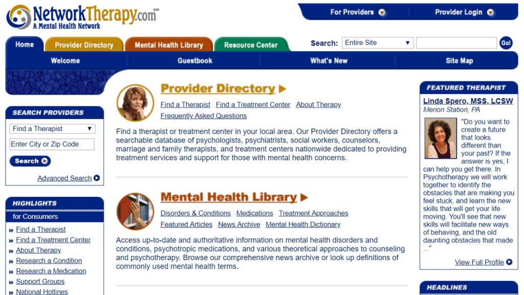 The Network Therapy online directory listing