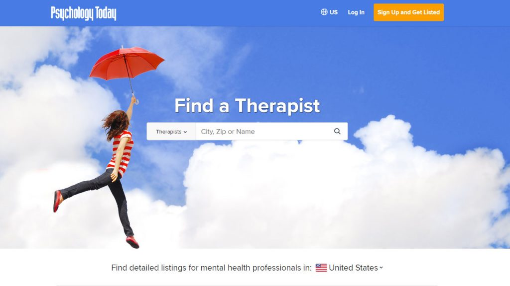 "The Psychology Today website where therapists can join a directory features an image of a woman gliding through the clouds with a red umbrella to the left of the ""Find a Therapist"" search bar."
