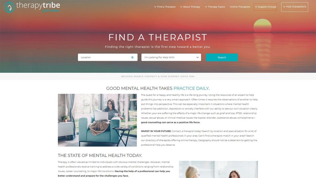 TherapyTribe's search bar features an ocean sunset background from which users can discover local therapists that fit their needs.