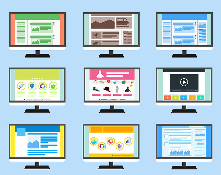 Nine different cartoon drawings of monitors displaying variously designed websites on a baby blue background.