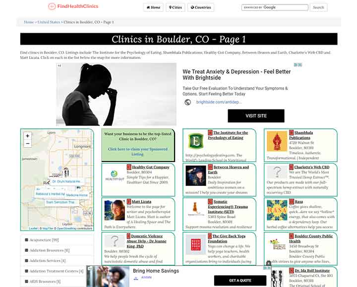 An example of the FindHealthClinics.com homepage. It displays listings of various health clinics in the user's area, such as Yoga studios and therapist's offices.