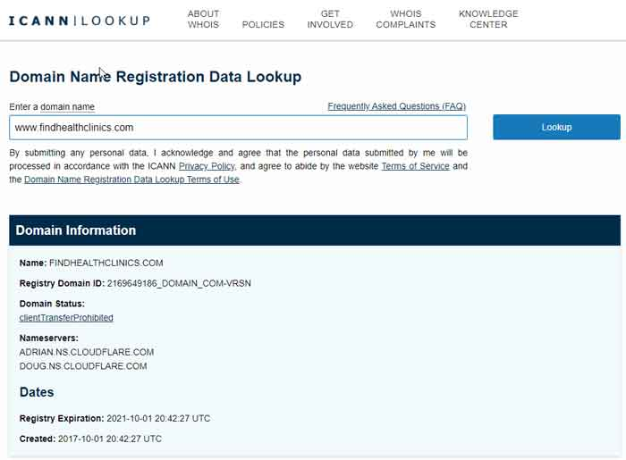 An ICANN domain registration data lookup for findhealthclinics.com, which displays the domain's host provider (CloudFlare), when the domain was purchased, and when it will expire.