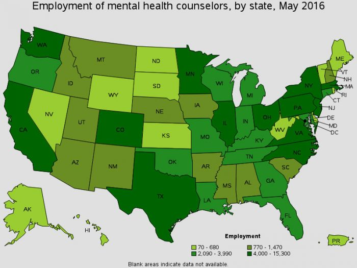 Bureau of Labor Statistics map detailing employment of mental health counselors and therapists by state from May 2016